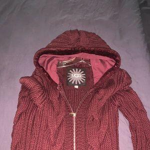 UGG maroon wool coat